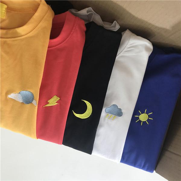 Korean Kpop Cotton Tshirt Women Long Sleeve Ulzzang Harajuku Embroidery T Shirt Top Unisex Cloud Moon Sun Cute Aesthetic T Shirt J190513