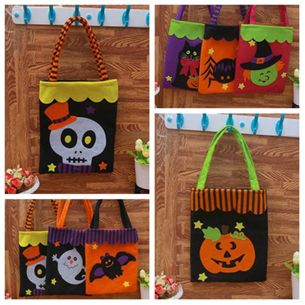 Mode Halloween Sacs citrouille fête mascarade sac en tissu non-tissé imprimer Ghost Sac de rangement enfants Halloween Sac De Bonbons FoldingT2I5341