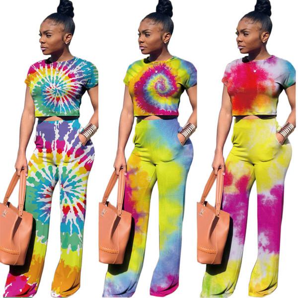 2019 trendiges PA6068 Crop-Top mit Batik-Print und Hosen-Outfits zweiteiliges Set für Damenbekleidung