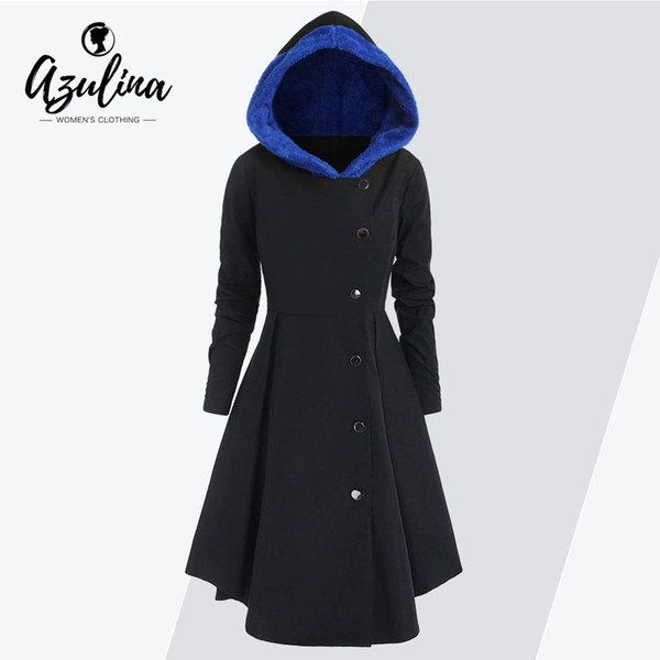 AZULINA Winter Coat Women Plus Size Hooded Color Block Asymmetric Fleece Skirted Coat Single Breasted Outerwear Ladies Tops 2019