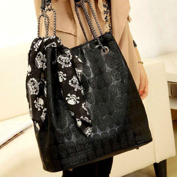 European and American style ladies skull skull handbag chain scarf casual cross bag Lady Tote Shoulder Bucket Bag Y410