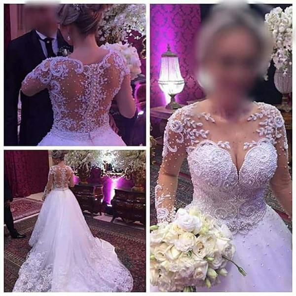 New Arrival A Line Wedding Dresses Sheer Neckline Illusion Back Princess Luxury Pearls Long Sleeve Bridal Wedding Gowns Vestido De Noiva P07