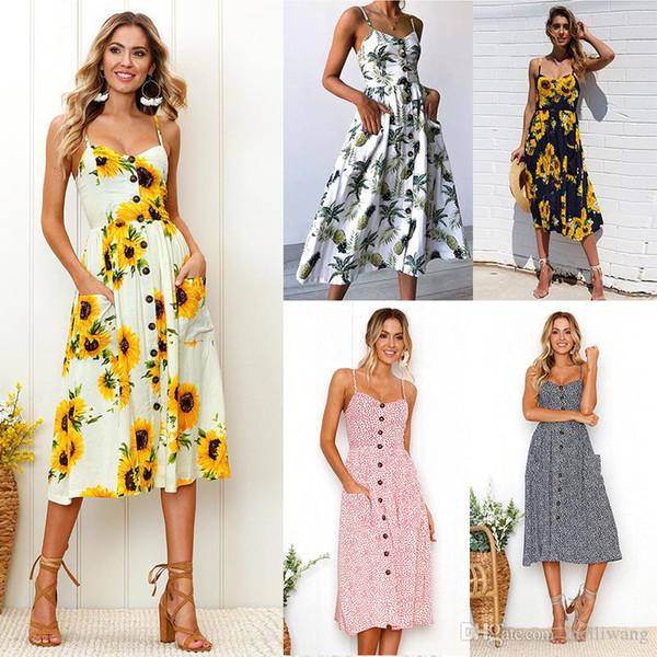Sexy Summer Button Beach Boho Bohemian Dress Women Floral Print Polka Dots Striped Plus Size 3XL Red Midi Dresses