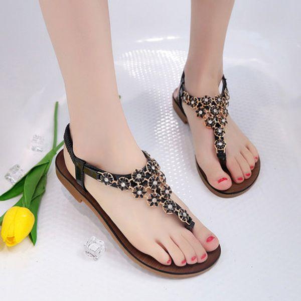 Beef tendon soft bottom toe sandals beach shoes summer new wild bohemian flat bottom Roman women's shoes