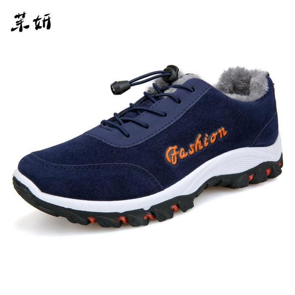 39-44 Shoes Fur Warm 2019 New Plush Anti Skidding Winter Boots Men Blue Black Gray