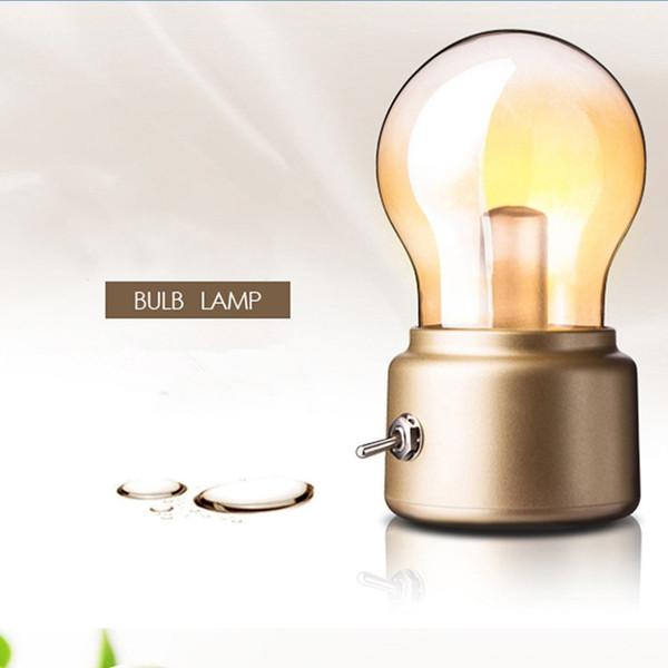 LED-Birnen-Nachtlicht Retro nachladbare USB-Buchlicht Mood Leuchte Schreibtisch Tischleuchten Tragbare Nachttischlampe JK0060