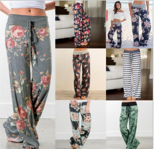 best selling Elastic Waist Floral Wide Leg Pants Palazzo Capris Lady Sport Casual Loose Long Pants Women Trousers Fitness Yoga AAA1080