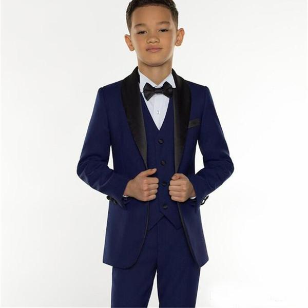 2019 Custom Made Boy Formal Wear Children Tuxedos Peaked Lapel 3 Pieces Kids Wedding Party Suits (Jacket+Pants+Vest)