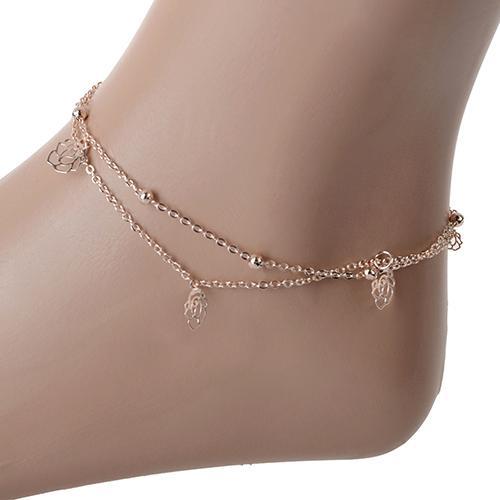 wholesale 12pcs Sexy Rose Double Layer Copper Beach Sandal Ankle Chain Anklet Foot Bracelet