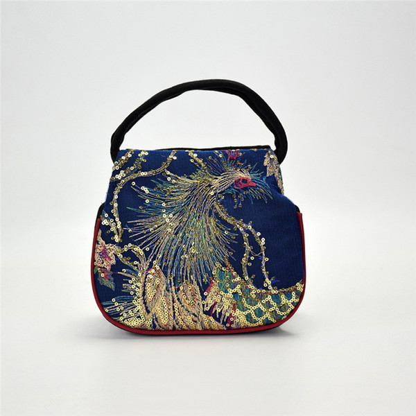 Women Sequins Ethnic Style Canvas Bag National Phoenix Embroidery Handbag Lady Retro Clutch Package Small Handbag bolso mujer#40