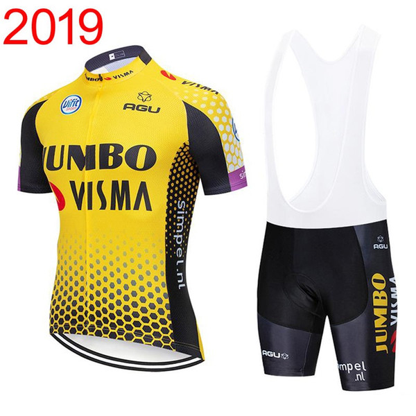 best selling 2019 Mens jumbo visma Team Cycling Clothing Set Bike Jersey Bibs Shorts Kits summer quick dry Bicycle Short Sleeve clothing Y030601