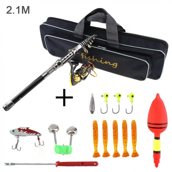 1.5m 2.1m fishing rod carbon fiber reel combo full kits 2000 spinning reel with bag soft lures fishing float hook jig head thumbnail