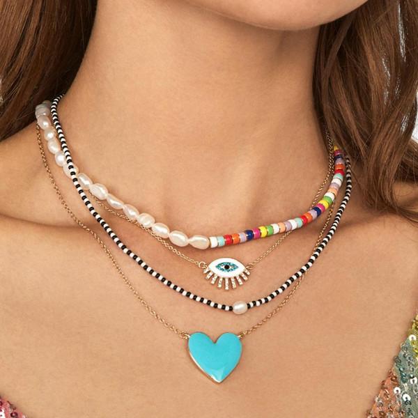 vedawas new boho glass crystal letter heart lips choker necklace pendants women layer elegant wedding statement necklace xg3152