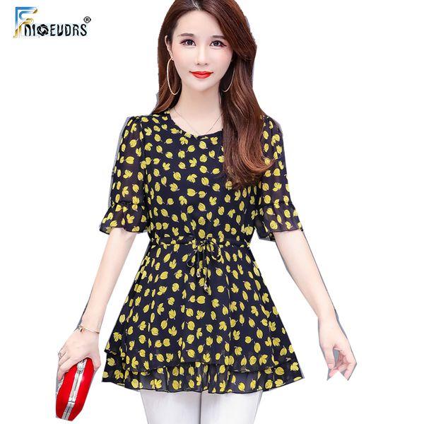 Chiffon Blusa Camisas Mulheres Moda Manga Flare Senhora Elegante O Pescoço Floral Impresso Bonito Túnica Peplum Top camisas feminina