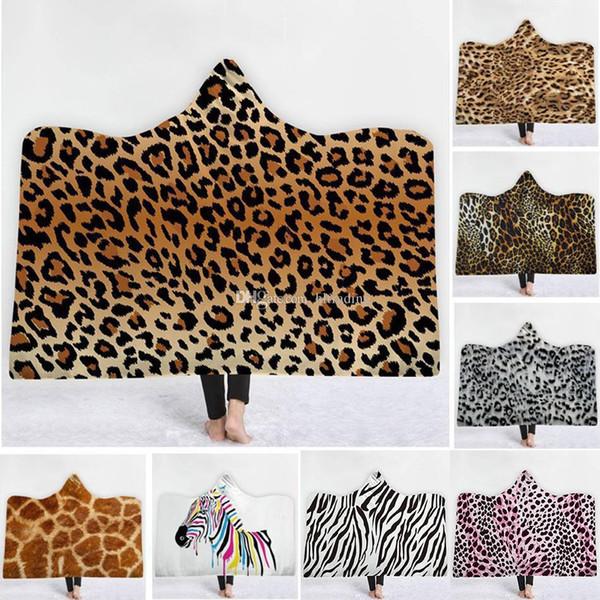 Leopard mit Kapuze Decke Verdickung samt Sherpa Robes Familie Mantel 15 Farben Badetuch Freies Verschiffen C6460