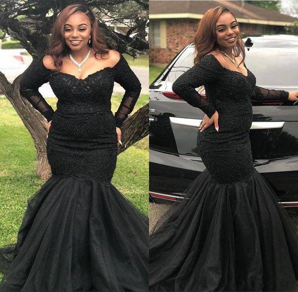 2019 noir sirène robes de bal africaines sexy épaule dentelle appliques tulle manches longues gaine étage longueur filles robes de soirée