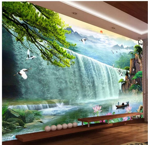 Custom any size photo Waterfall wall mural 3d wallpaper 3d wall papers for tv backdrop