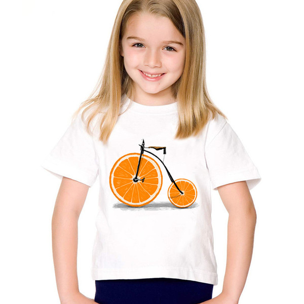 Cartoon Print Fruit Bicycle Children Funny T-shirts Kids Bike Design Summer Tees Boys/Girls Casual Tops Baby Clothes,HKP5178