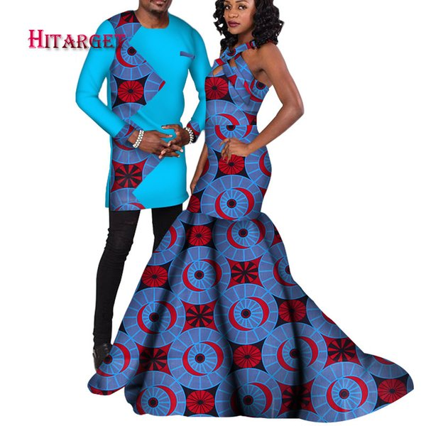african couple suit men's sets and women's dress for the wedding/party traditional African clothing couples suit clothes WYQ122