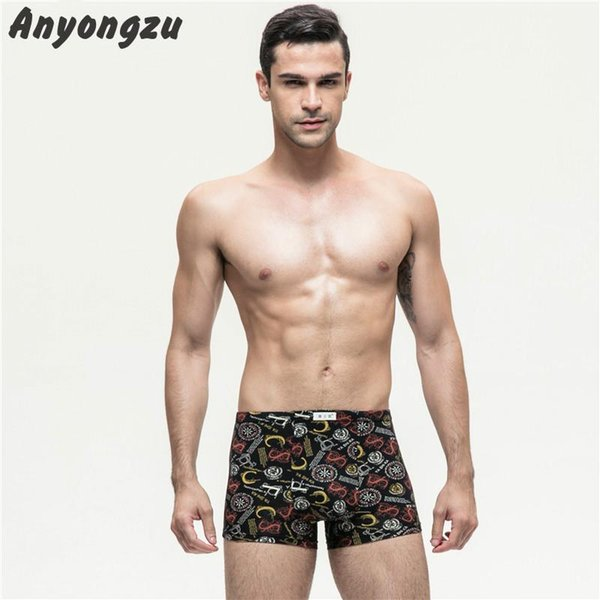 4psc/lot Healthy Skin-friendly Breathable Modal Men Underwear Plus-size 4XL/5XL Printing Boxers Elastic Non-trace Shorts