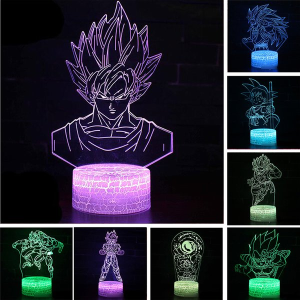 Dragon Ball Super Saiyan Dieu Goku Figurines 3D Illusion Lampe De Table 7 Changement De Couleur Night Light Garçons Enfant Enfants Bébé Cadeaux