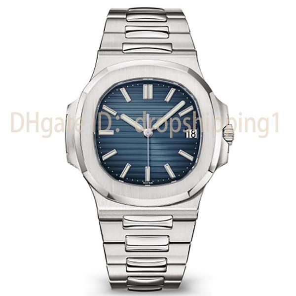 2019 Top Nautilus Reloj Hombre Reloj de lujo automático 5711 Correa de plata Azul Inoxidable para hombre Mecánico Orologio di Lusso Reloj de pulsera Fecha Crono