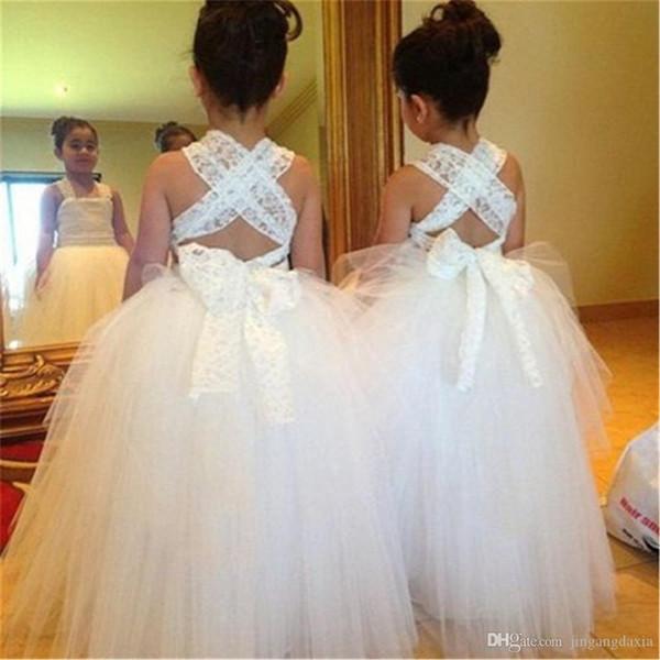 Weiß Ballkleid Blumenmädchen Kleid Wolke Kristall Graduation Dresses Kids New Design Kleinkind Abendkleid Mädchen Pageant Kleider