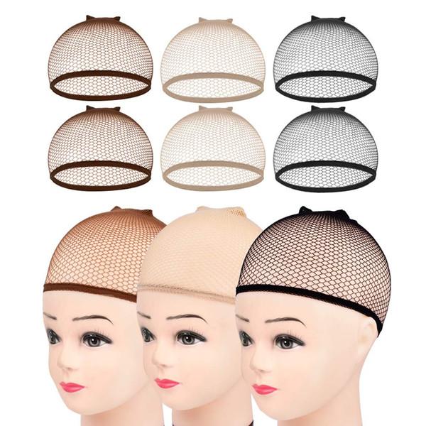 top popular 100Pcs Invisible Nylon Hair Nets With Elastic Women Men Ladies Hair Wigs Stocking Cap Weaving Mesh Net Fishnet Brown Beige Black 2020