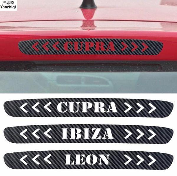 Seat Leon Ibiza çipura için Araç Karbon Elyaf Vinil Fren Lambaları Dekoratif Kapak Yüksek Dağı Stop Lambası Sticker