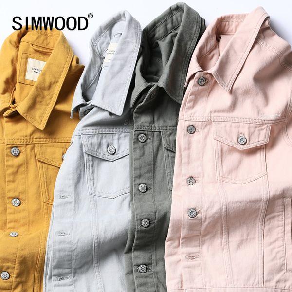 SIMWOOD Jeansjacke Herrenmode 100% Baumwolle Trucker Jacken Slim Fit Stickerei Brusttasche 4 Farben Herbst Mäntel 180468