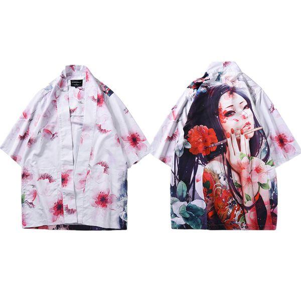 Mr.1991INC Japanese Kimoni Men Cardigan Shirt Japan Traditional Clothing Male Summer Tops Print Cherry Blossoms Plus Size M-XXL