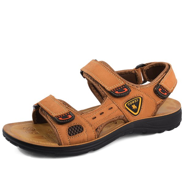 Italian design men fashion genuine leather sandals hook loop summer beach shoes outdoor seaside dresses zapatillas de hombre man