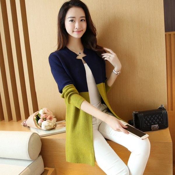 новая женская одежда Han edition длинные в контрасте цвета костюм воротник вязание женский темперамент кардиган свитер пальто