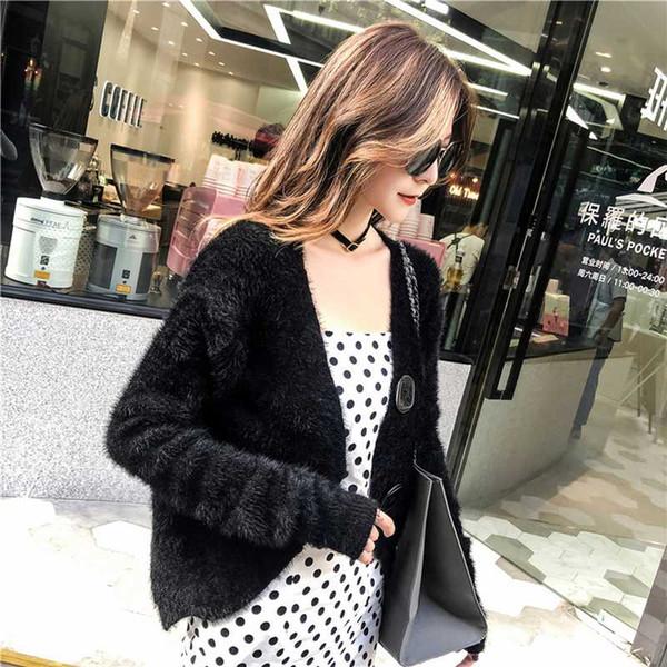 2018 New Mink Cashmere coat women's long-sleeve Autumn winter Keep warm Cardigan Big button Short Top jacket knitted fur coat