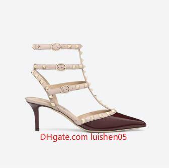 Дизайнер заостренный носок шпильки лакированная кожа заклепки сандалии женские шипованные босоножки туфли валентинки 10 см 6 см туфли на каблуках c143