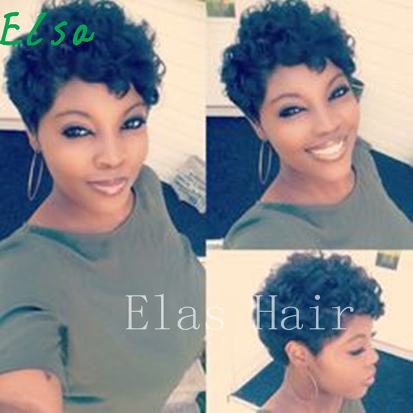 Top Grade Short Curly Black Cute Wig African