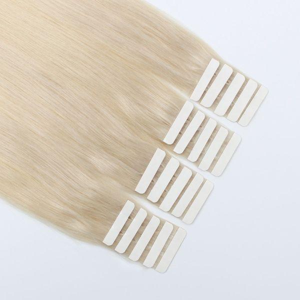 Fita em Extensões Do Cabelo 50g / 20 pcs Trama Da Pele Fita Ligada Invisível Sem Costura Reutilizável Louro De Platina Cinza Cor # 60