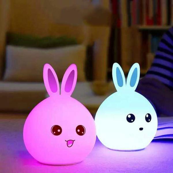 Крытый Изменение цвета Малый силиконовый Кролик Детская ночника водить, перезаряжаемые Детская комната Ночники для детей