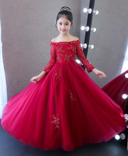 Compre Bonito Vino Bateau Mangas Apliques Vestidos Para Niñas Vestidos De Flores Vestidos De Fiesta De Princesa Faldas Para Niños Por Encargo 2 14