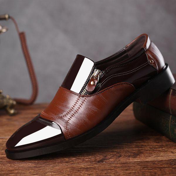 Büyük 38-48 Moda İş Elbise Erkekler Ayakkabı 2019 Yeni Klasik Takım Elbise Deri Erkek Moda Ayakkabı Elbise Erkekler Oxfords ...