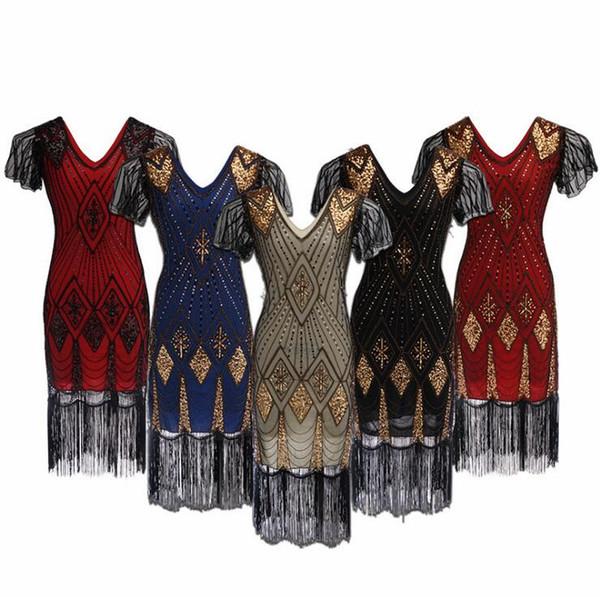 Women 1920 s Vintage Sequin Art Deco Double Flapper Dresses Vintage V Neck Party Dress Embellished Fringed Mini bodycon Dresses