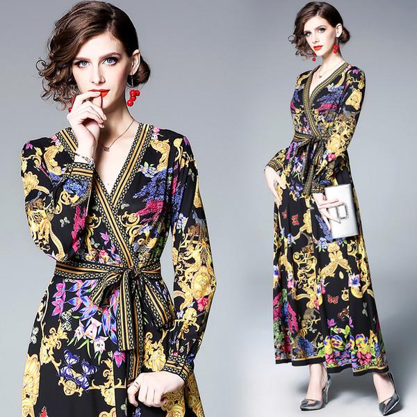 Party Prom Women Dress Deep V Neck Vintage Floral Print Waist Tie Long Sleeve Evening Maxi Dresses 3169