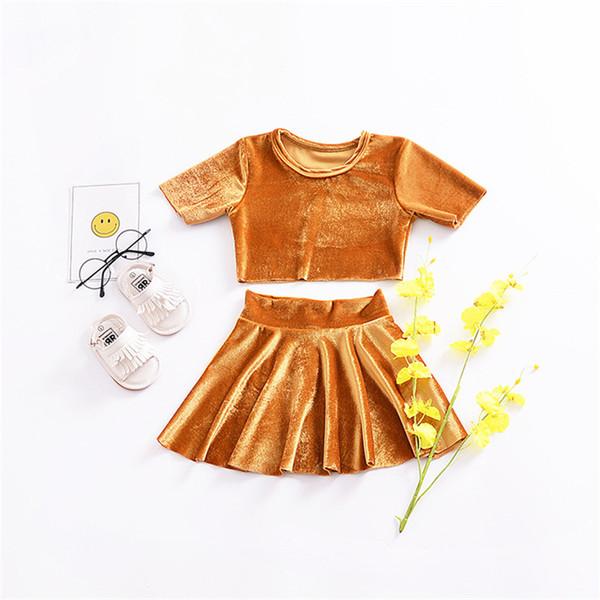 Baby Gold trajes de terciopelo 2018 nuevas niñas top + faldas 2 unids / set INS niños Conjuntos de ropa B11