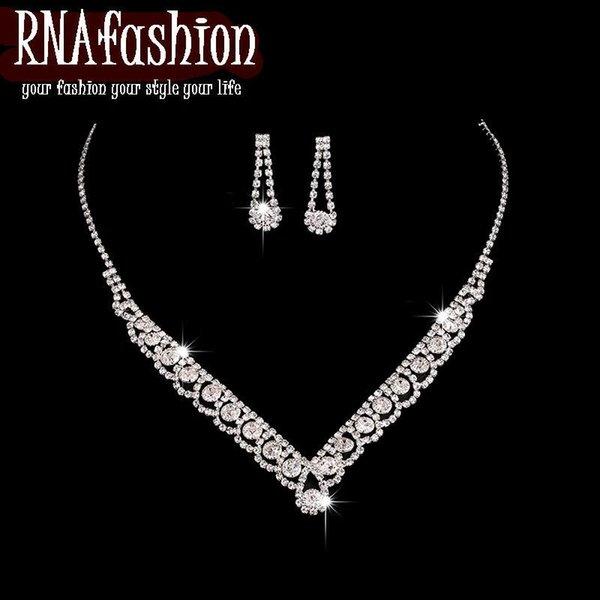 Parure de bijoux de mariage élégante Colliers de mariée Boucles d'oreilles ensemble Mariage en cristal pour les femmes