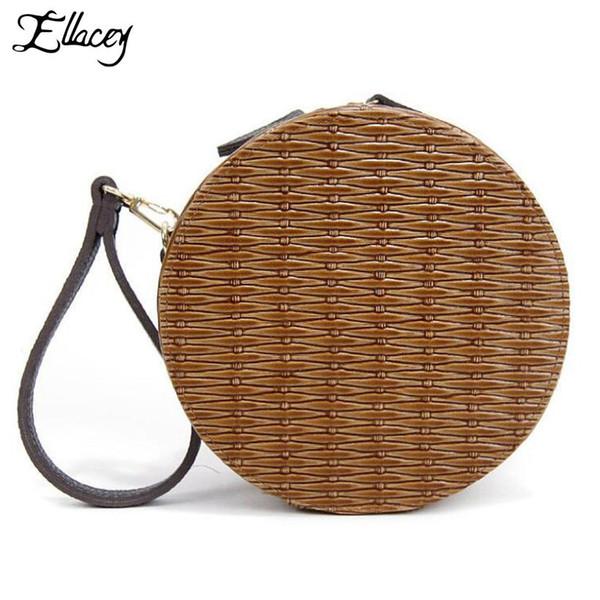 New 2018 Summer Round Mini Shoulder Bags Small Straw Weave Knitting Beach Handbag Women Circular Messenger Bag Tide Female