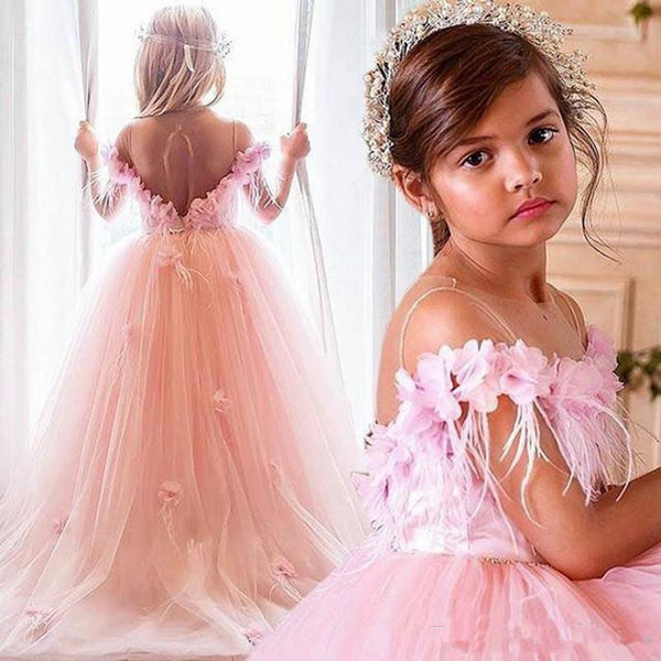 Pink Princess Girls Pageant Gowns Sheer Neck Flower And Feather Cap Sleeve Flower Girl Dresses For Wedding Baby Birthday Party Dress