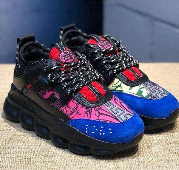 Lüks Ayakkabı Zincirimens için Siyah Beyaz Mesh Kauçuk Deri Moda Günlük Günlük ayakkabı womensVersace Sneakers DüzReaksiyon