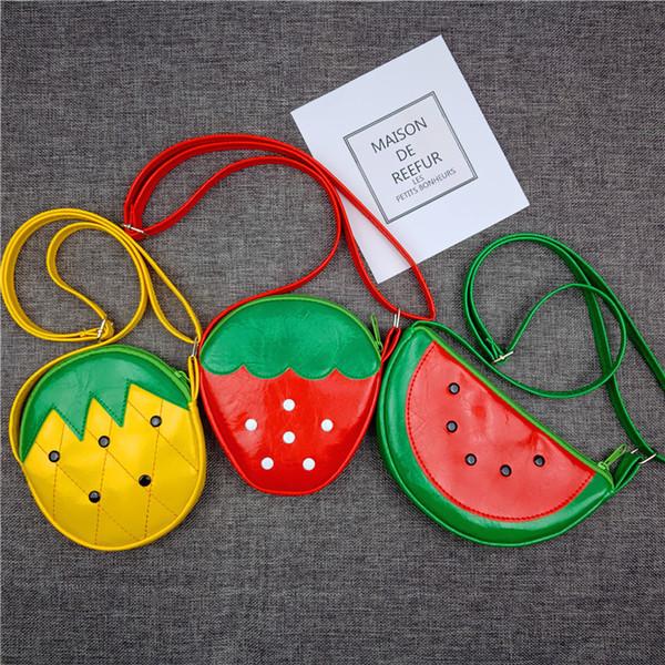 Ananas Erdbeer Wassermelone Umhängetasche Kinder niedlich Geldbörse Cartoon Obst Umhängetasche Outdoor Crossbody Tasche B11