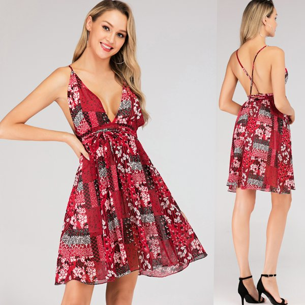 2019 Holiday Dresses For Women Deep V Neck Backless Chiffon Red Floral Print Mini Fashion Summer Prom Cocktail Dress 4167 From Clothes Zone 25 13