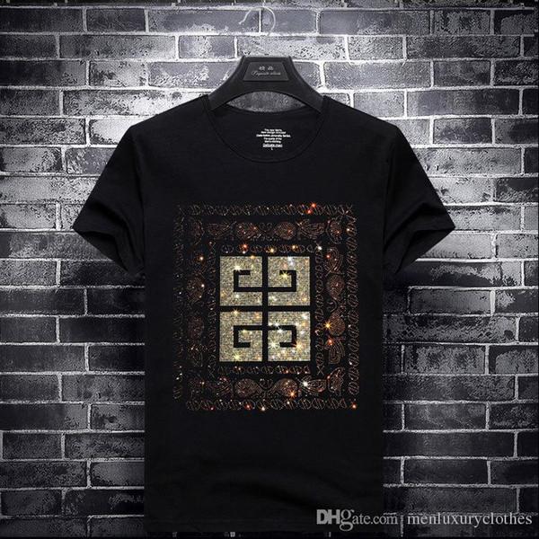 Rhinestone marca para hombre camisetas diseñador Tops GVIN lujo manga corta verano Tops camiseta